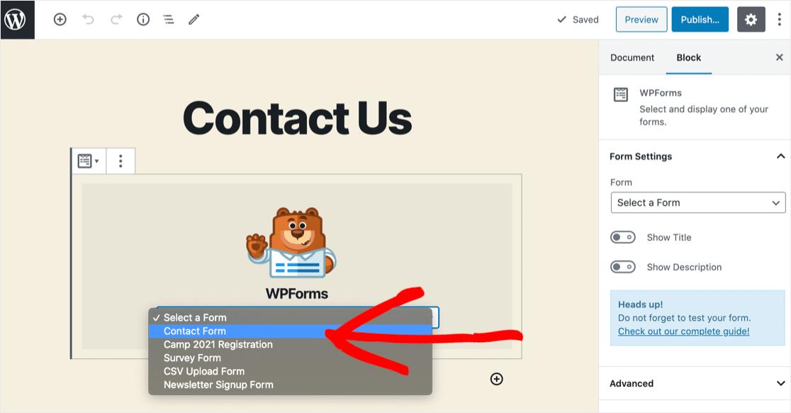 Select form in WordPress