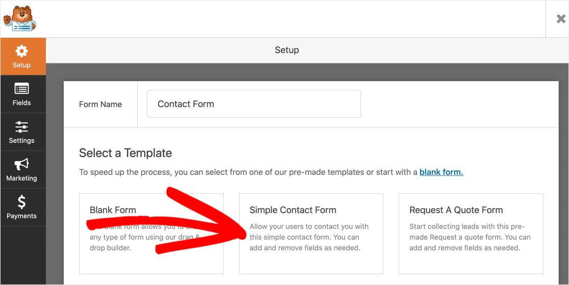 WordPress contact form template
