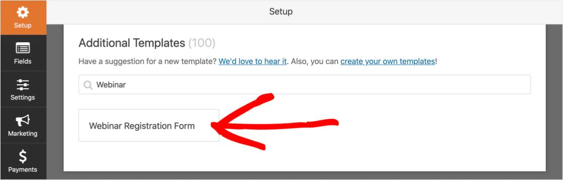 WordPress webinar form template