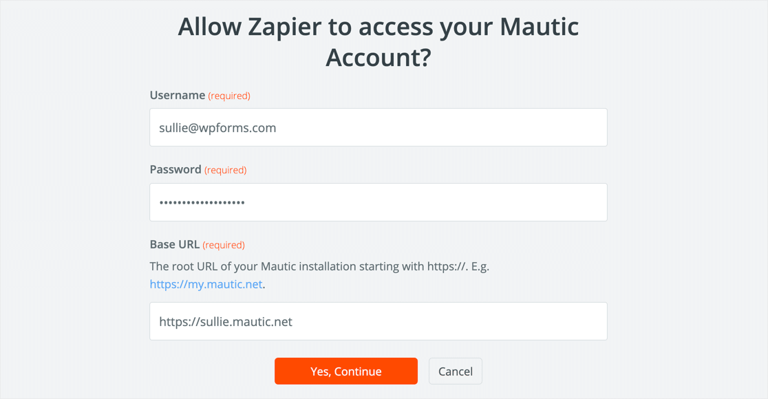Zapier Mautic login