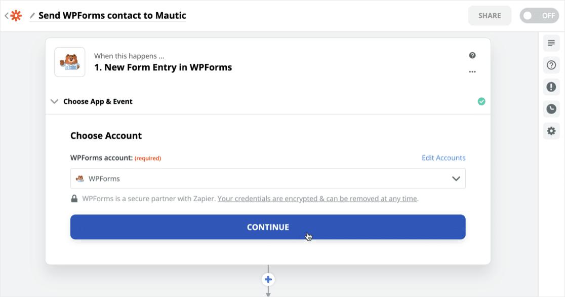Confirm WPForms account in Zapier