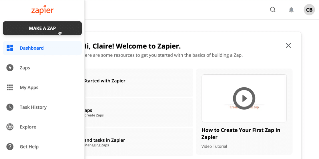 Make a Zap in Zapier