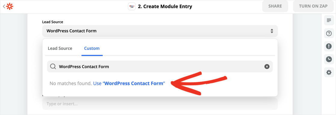 WordPress form tag in Zapier