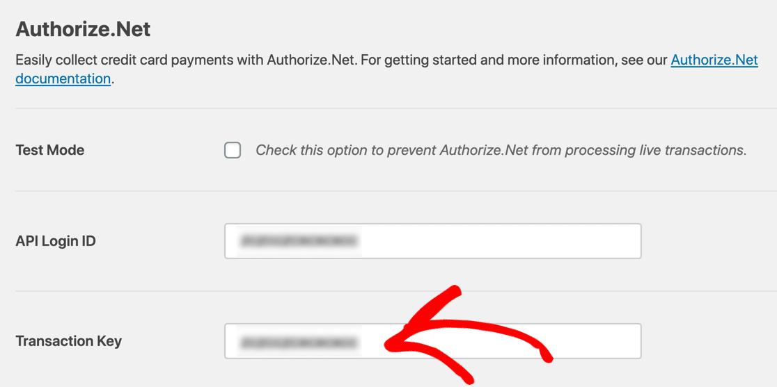 Authorize.Net payment form transaction key