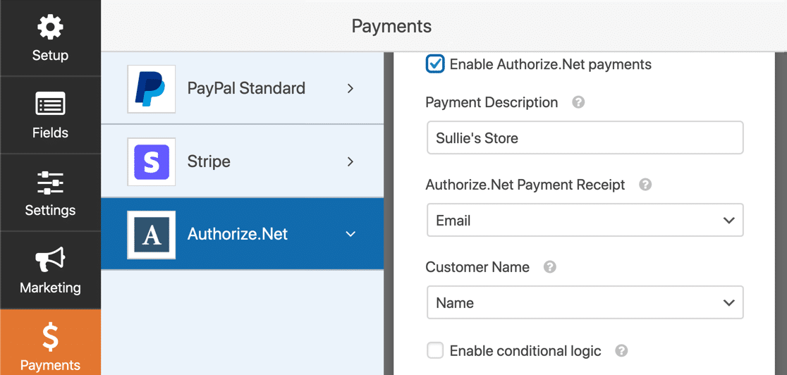 Authorize.net payment form settings