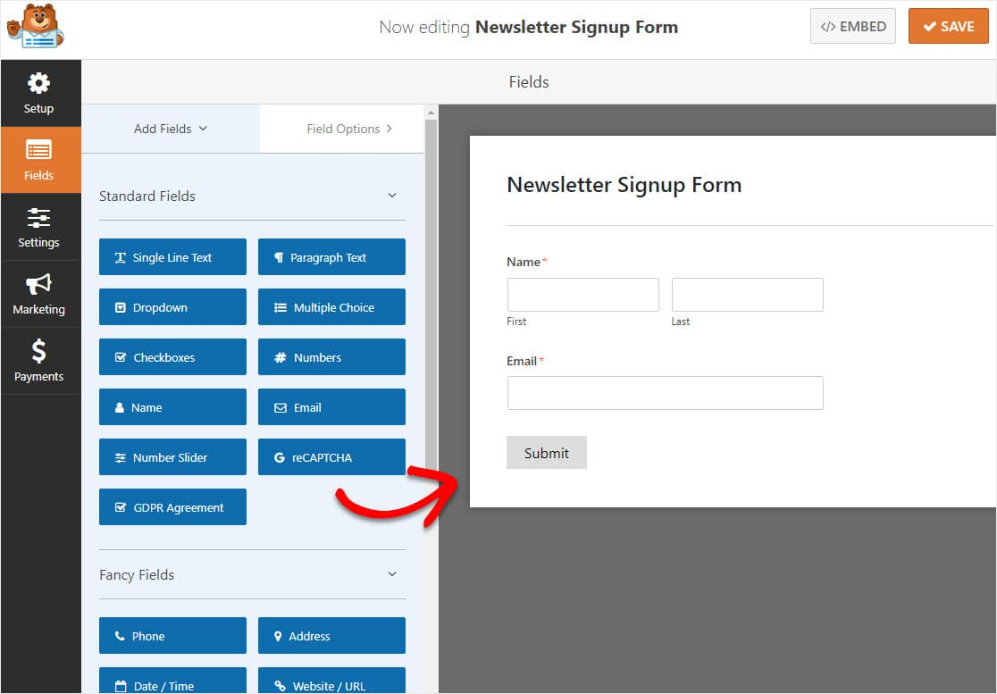 aweber newsletter signup form fields