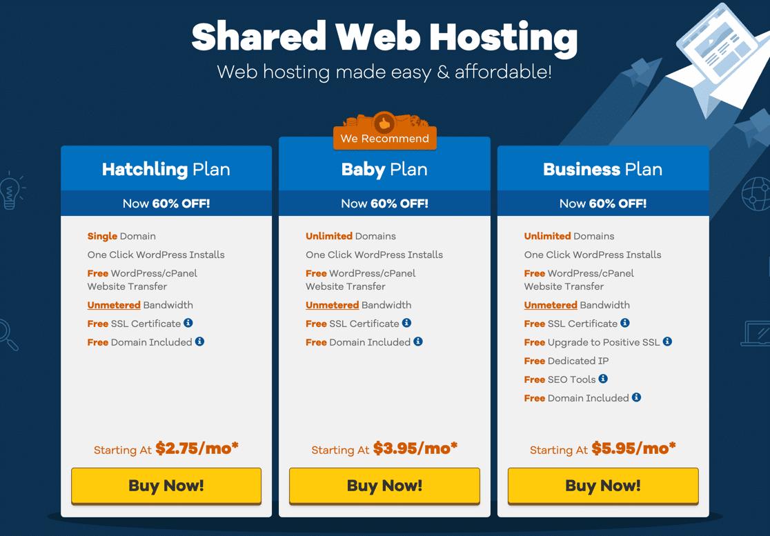 Choose hosting plan for free business email at HostGator
