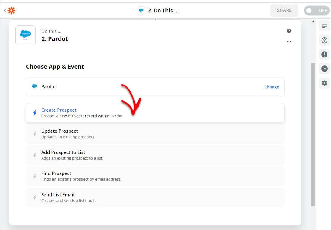 click on create new prospect in pardot wordpress form