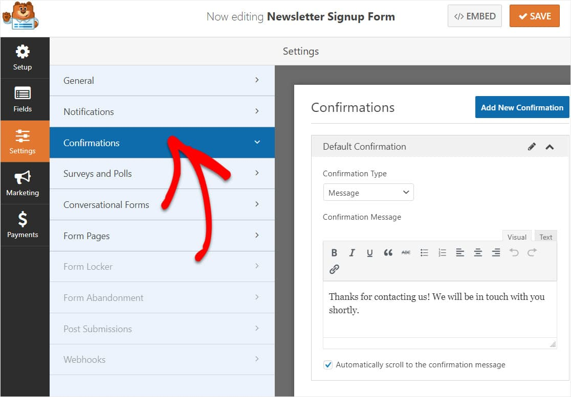 confirmations for aweber wordpress forms