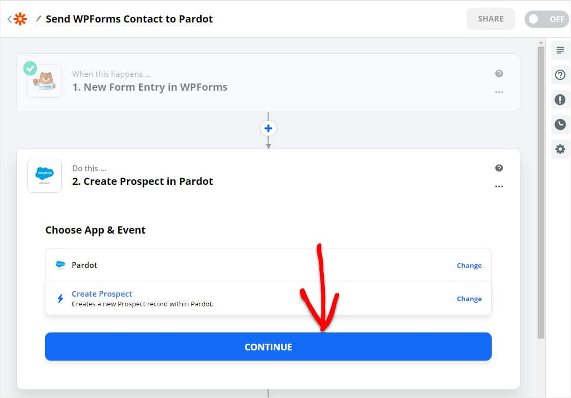 continue creating wordpress pardot form
