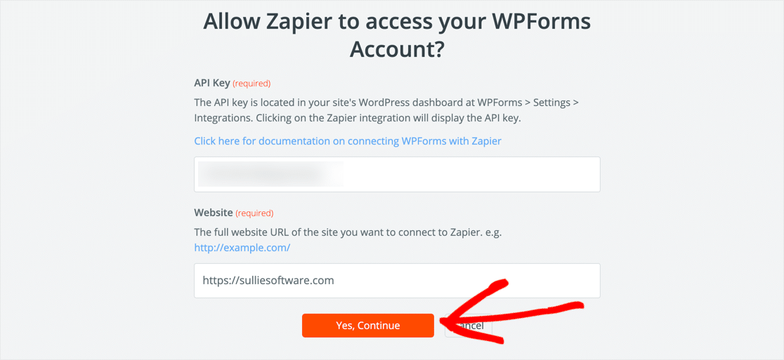 Zapier WPForms connection