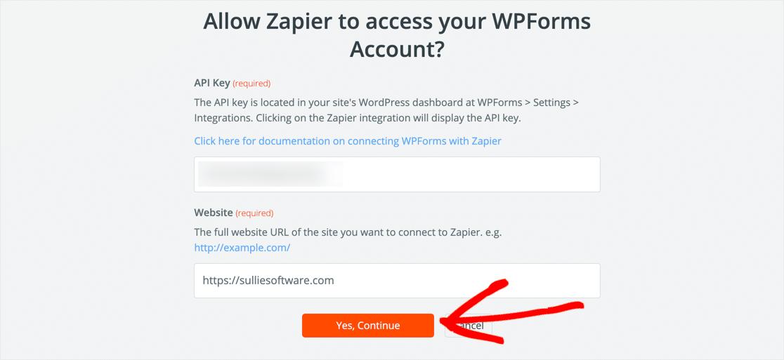 Zapier WPForms connection
