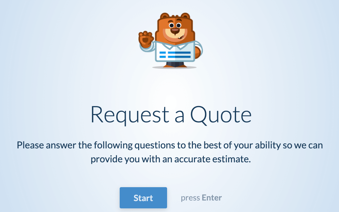 An example of a conversational form with a header logo