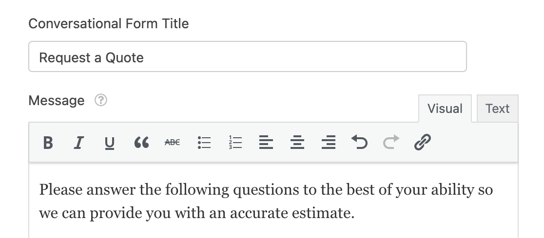 Adding a title and message to a conversational form