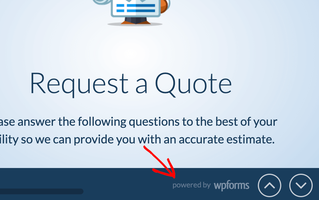 """The """"Powered by WPForms"""" logo at the bottom of a conversational form"""