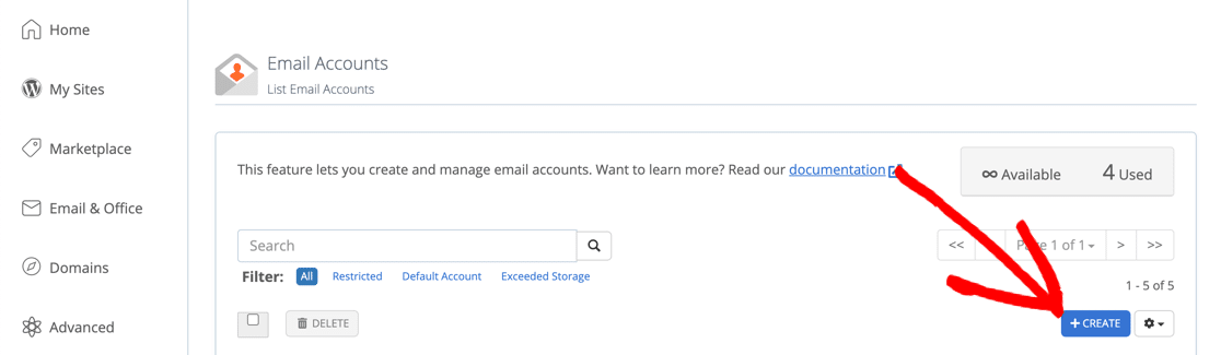 Create a free business email account at Bluehost