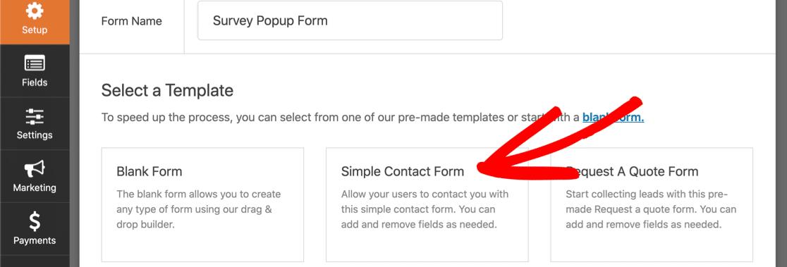 Create new popup survey form