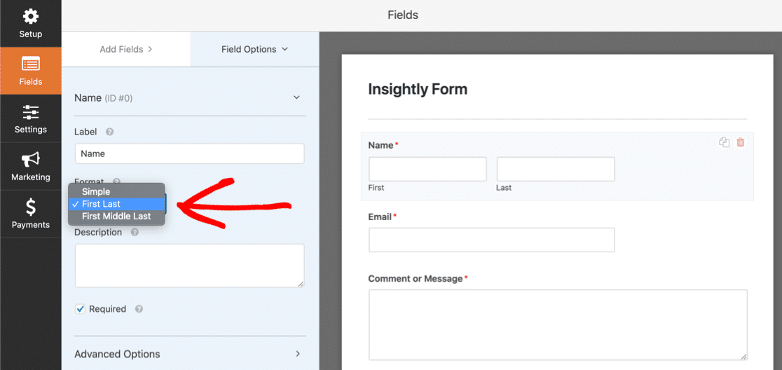 Customize name field for Insightly WordPress form