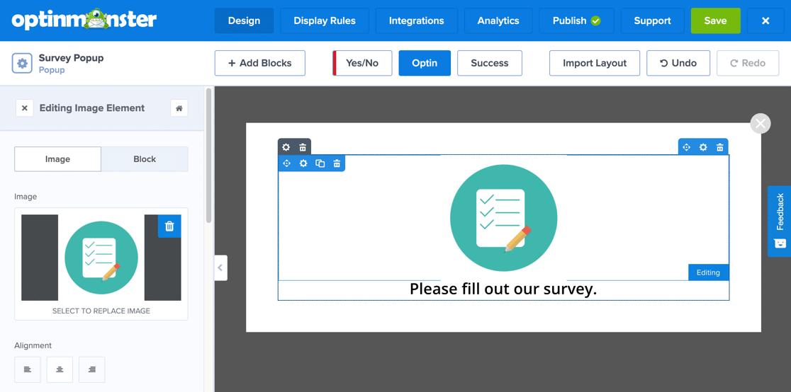 Customize popup survey image