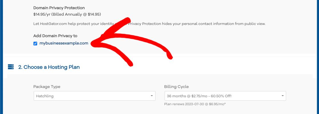 Domain privacy checkbox at HostGator