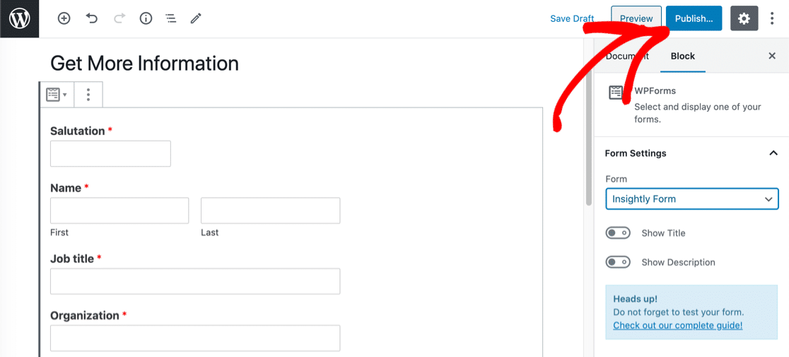 Embed and Publish the Insightly WordPress form