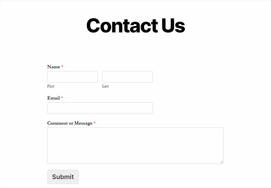 finished parfot form on website