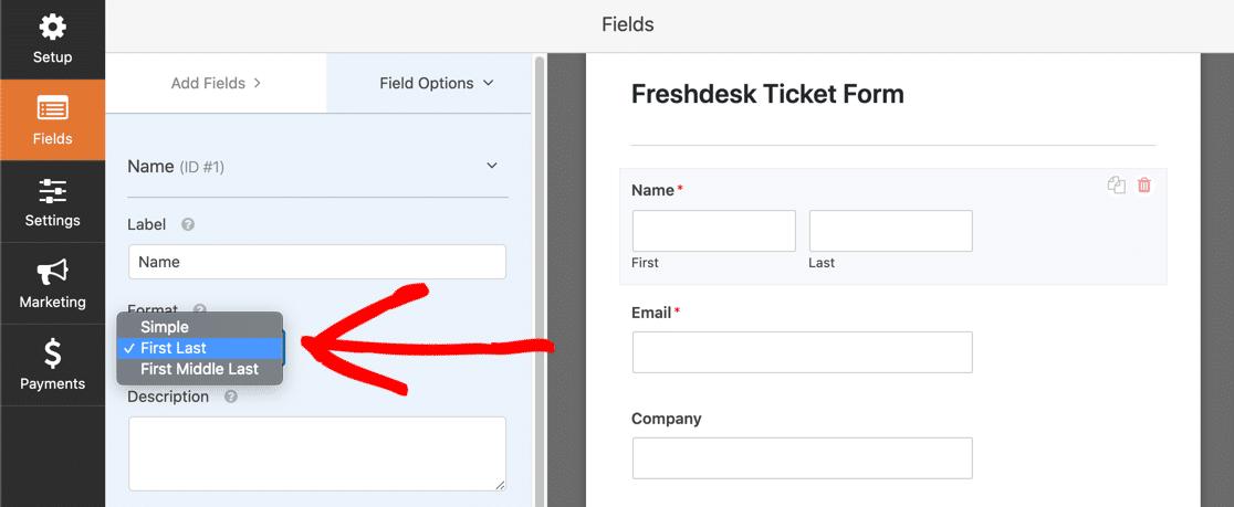 Freshdesk name field