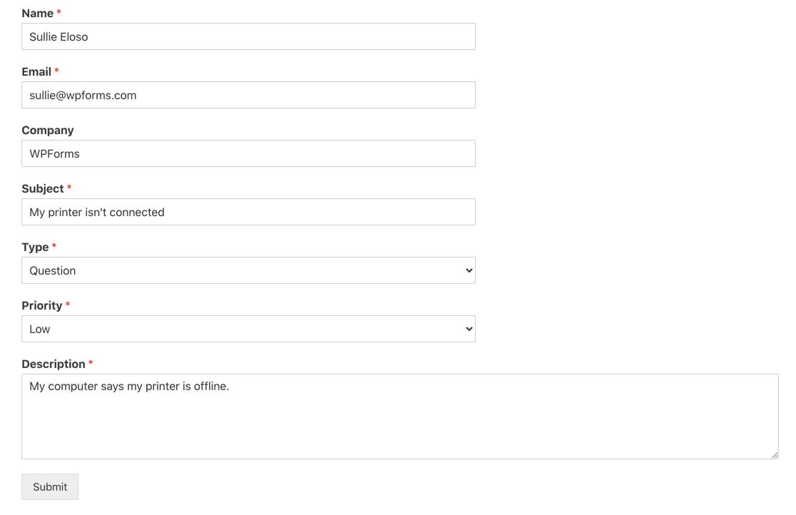 Freshdesk ticket form submission in WordPress