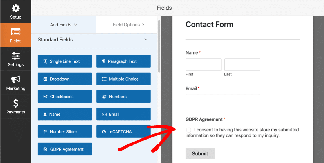GDPR field in Form Builder