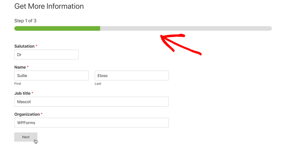 Insightly WordPress form with progress bar