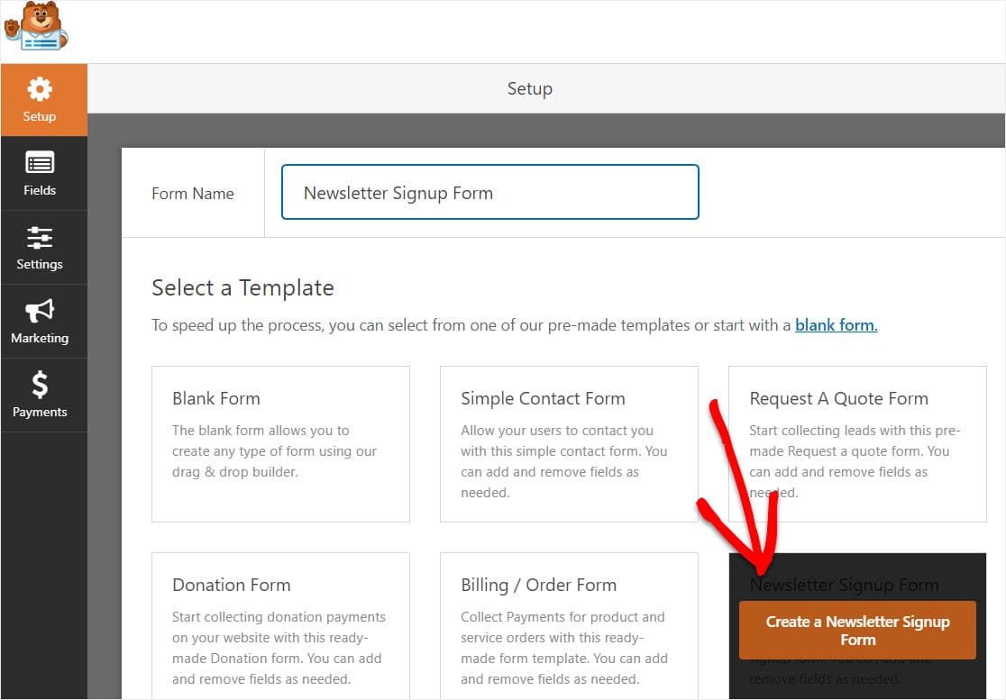 newsletter signup form template