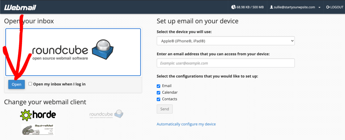 Open your free business email account at Bluehost
