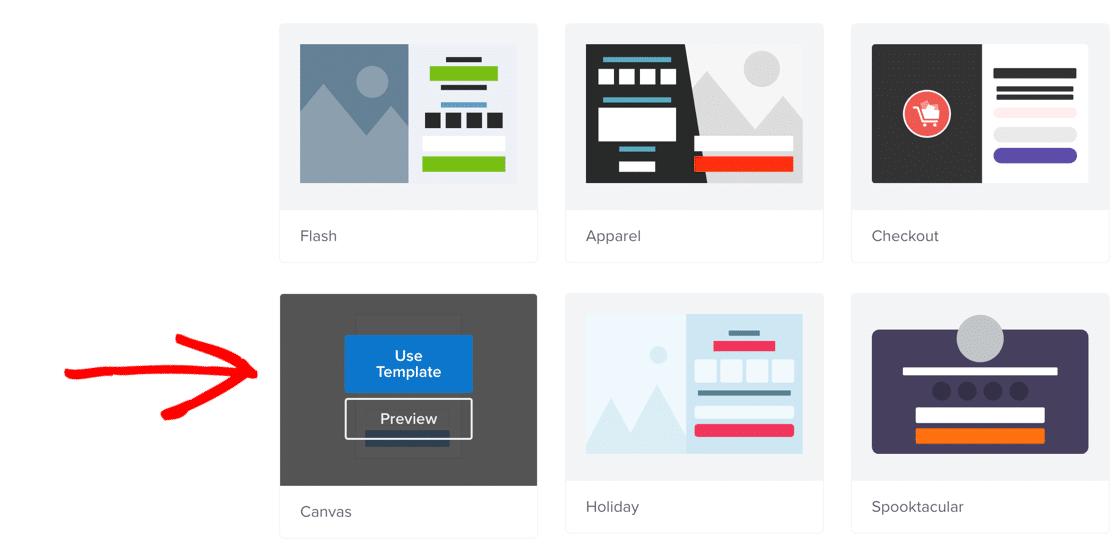 Create canvas survey popup in OptinMonster