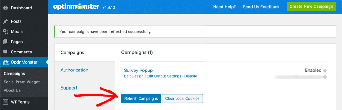 OptinMonster refresh campaigns button