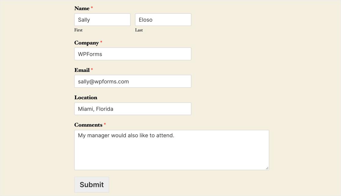 Podio form test in WordPress
