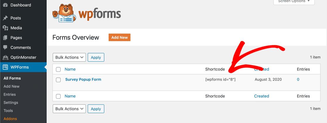 Popup survey form shortcode