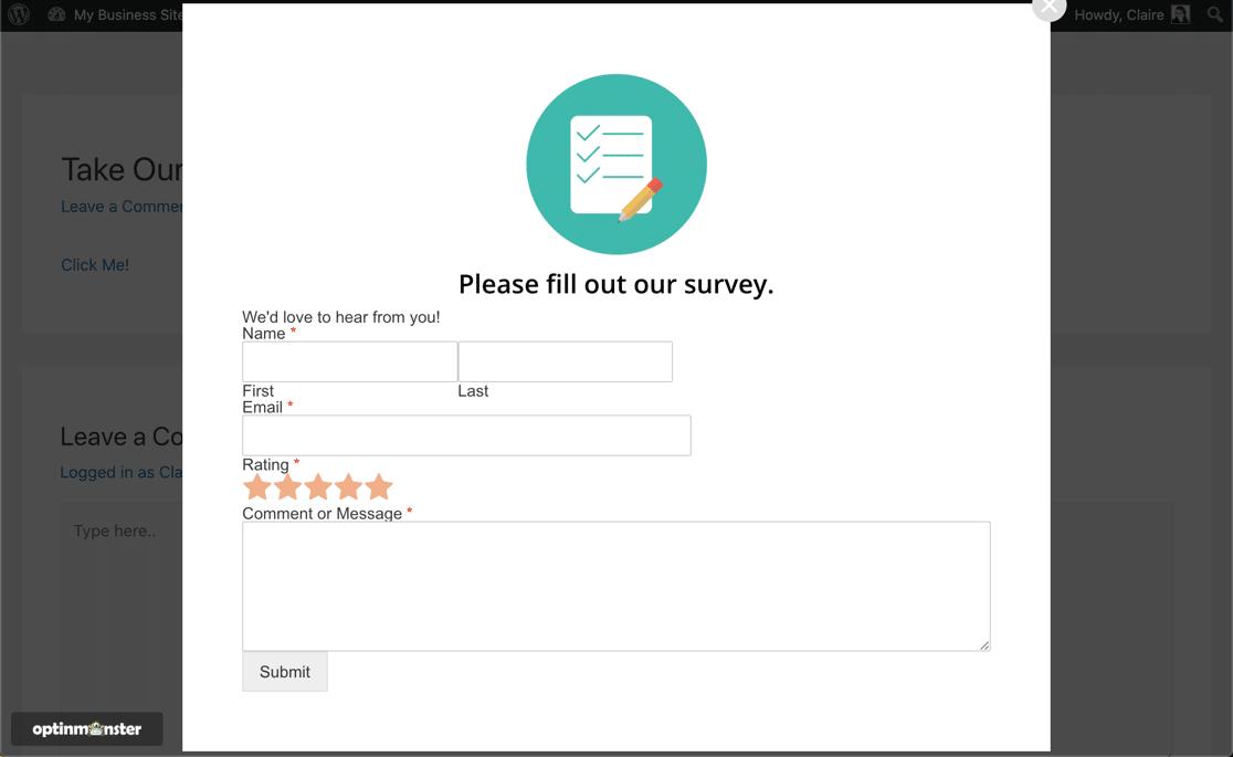 Popup WordPress survey plugin result