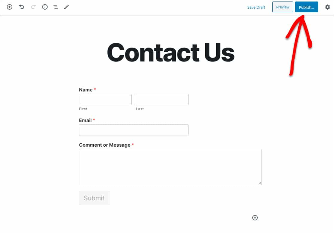 publish wordpress pardot form