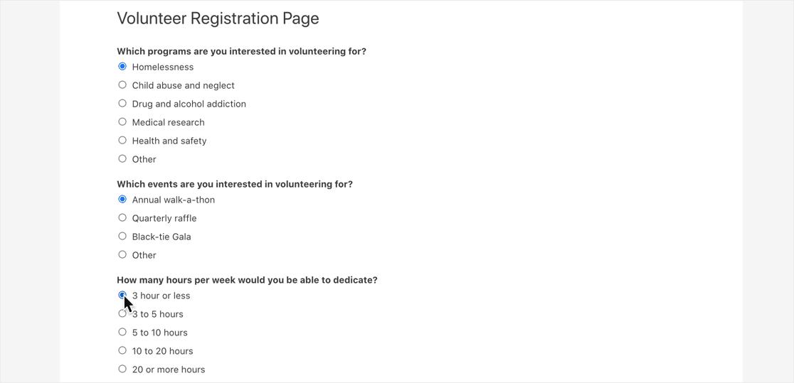 Published Toggl form