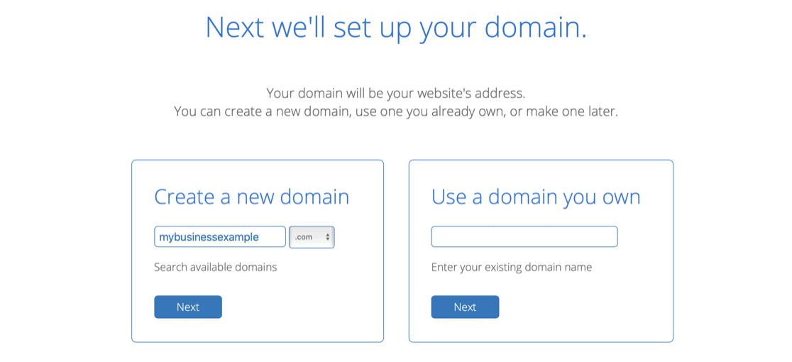 Search for your free business email domain name at Bluehost