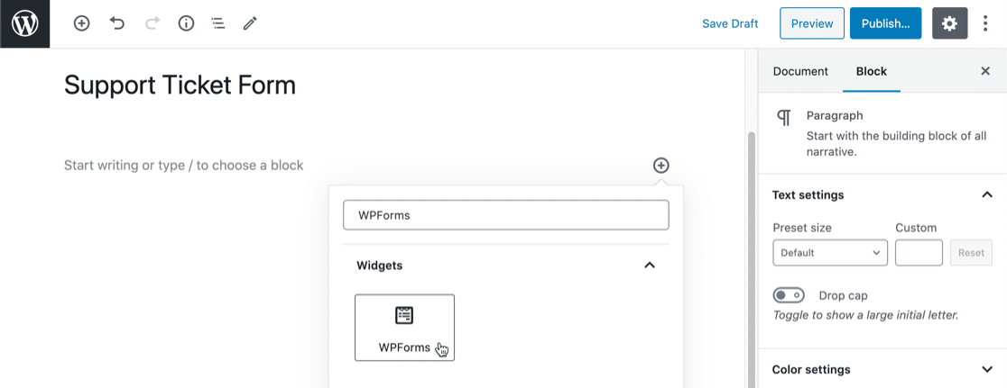 Add Freshdesk WordPress form in the block editor
