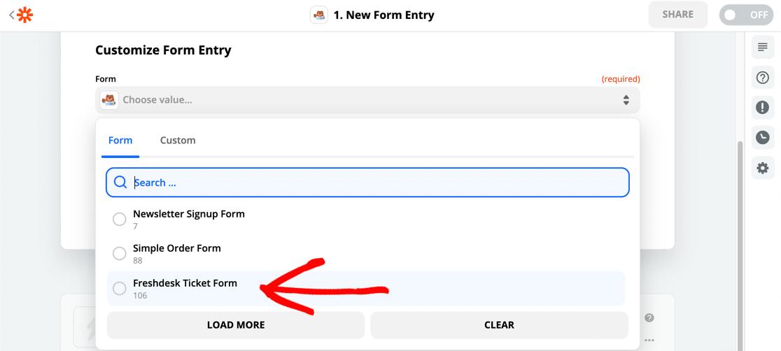 Select WordPress Freshdesk form in Zapier