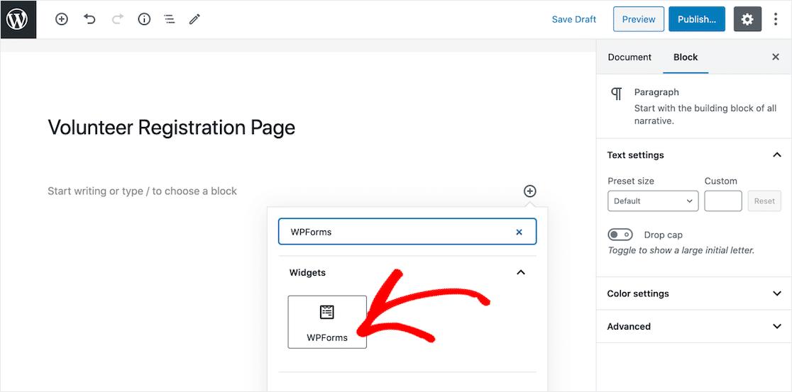Select the WPForms widget