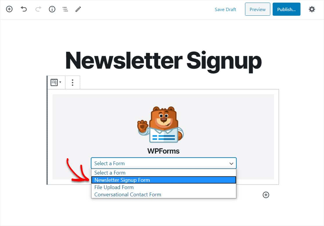 select your aweber wordpress form from list