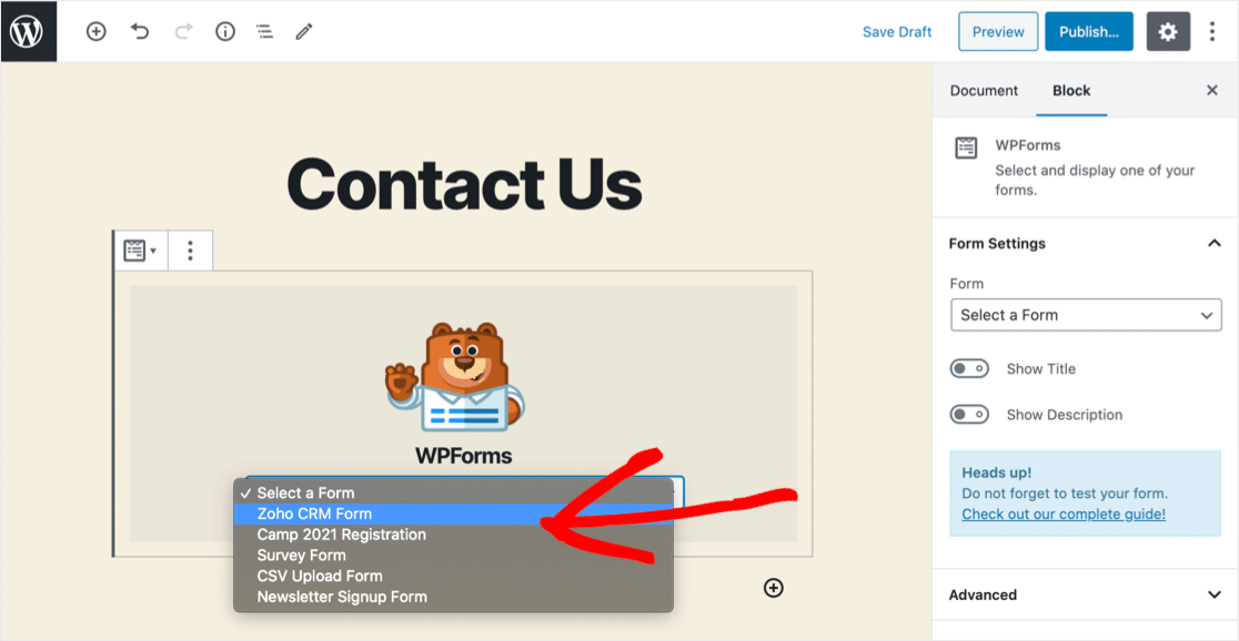 Select Zoho WordPress form
