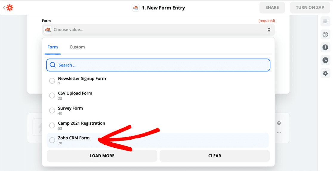 Select Zoho WordPress form