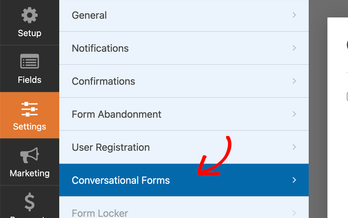 Accessing the conversational forms settings in the form builder