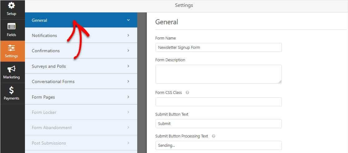 Settings on AWeber WordPress Form