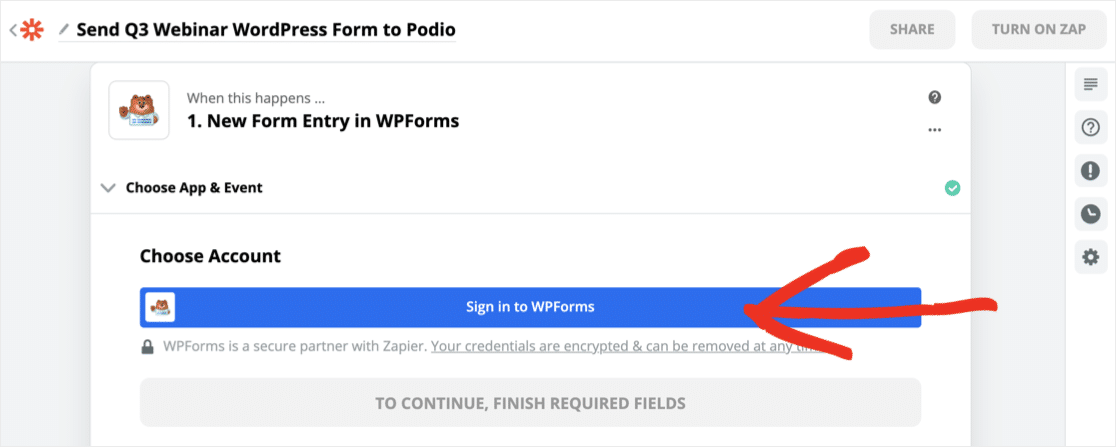 Sign in to WPForms in Zapier