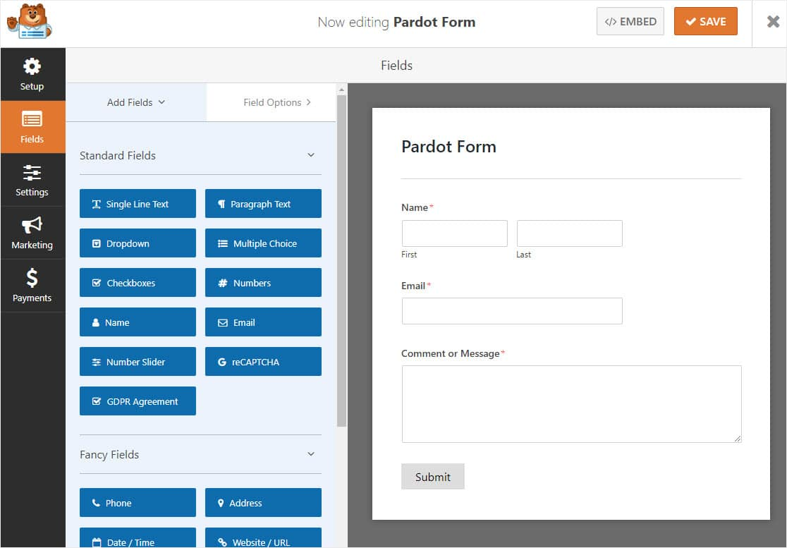 simple pardot wordpress form